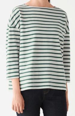 MUJI 無印良品 太番手天竺編みドロップショルダーTシャツ(七分袖)