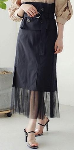 LADYMADE(レディメイド)トレンチベルトスリットチュールタイトスカート【ブラック】