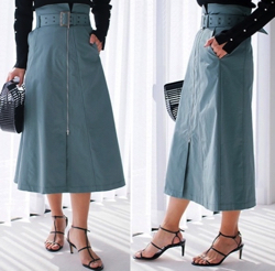 LADYMADE(レディメイド)フロントZIP スカート【グリーン】