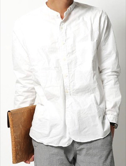 バンドカラーシャツ メンズ ノーカラー 無地 長袖シャツ プルオーバー シャンブレー 白 日本製 国産 SPELL BOUND スペルバウンド