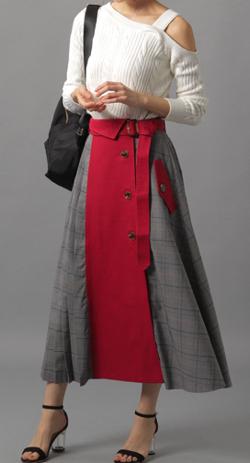 Andemiu チェックドッキングスカート