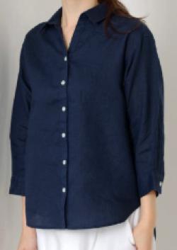 MEW'S REFINED CLOTHES(ミューズ リファインド クローズ)洗えるフレンチリネンシャツ7分