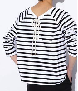 H/standard(アッシュスタンダード)ボーダークルーネックバスクシャツ