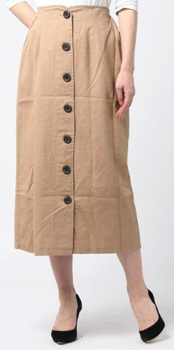 Samansa Mos2 blue綿ツイル前ボタンタイトスカート