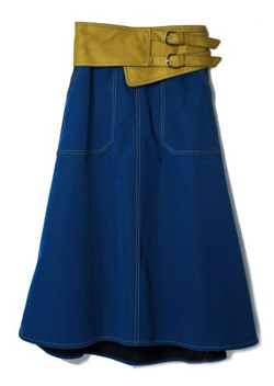 REDYAZEL(レディアゼル)配色コルセットベルト付きフレアスカート