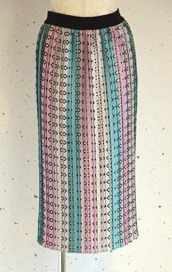STELLA CIFFON(ステラシフォン)小紋柄×ストライププリーツスカート