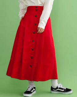merlot(メルロー)フロントボタンタックプリーツスカート