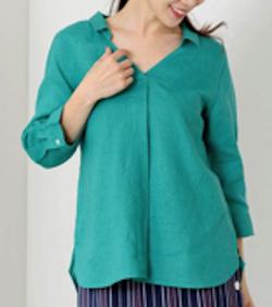 MEW'S REFINED CLOTHES(ミューズ リファインド クローズ) 洗えるフレンチリネンスキッパーシャツ7分