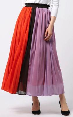 COOMB(クーム)カラーシフォンプリーツロングスカート