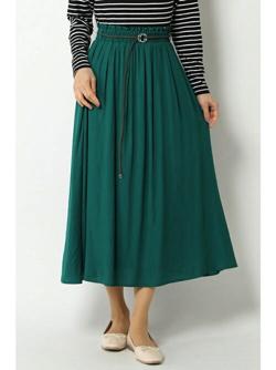 ikka(イッカ) 麻調合繊ベルト付きスカート