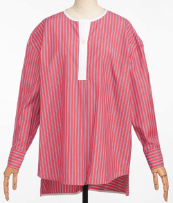 miroir de ensuite(ミロワール ドゥ エンスウィート)クレリックストライプロングシャツ