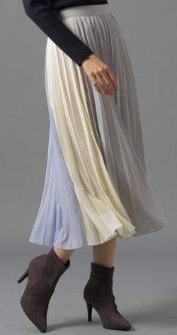 Andemiu(アンデミュウ)カラーキリカエプリーツスカート