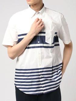BLACK LABEL CRESTBRIDGE ワイドボーダーハーフスリーブシャツ