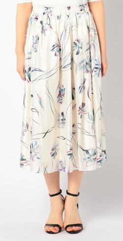 NOLLEY'S (ノーリーズソフィー)フラワーパールサテンギャザースカート
