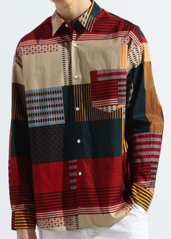 TOMORROWLAND サテンプリント レギュラーカラービッグシャツ