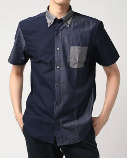 BLACK LABEL CRESTBRIDGEクレイジーパターンオックスフォードボタンダウンハーフスリーブシャツ