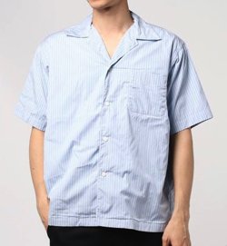 Sanca ストライプ オープンカラーシャツ