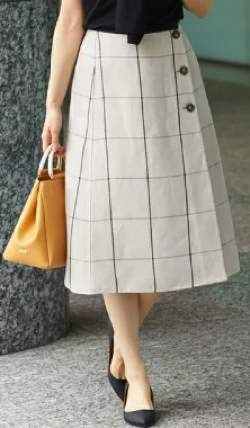 ROPÉ(ロペ)麻混リバーシブルミディスカート