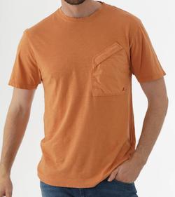 CPカンパニーMalfileジャージコントラストポケットTシャツ - オレンジ