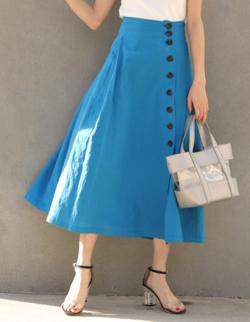 Andemiu(アンデミュウ)リネンコンサイドボタンスカート