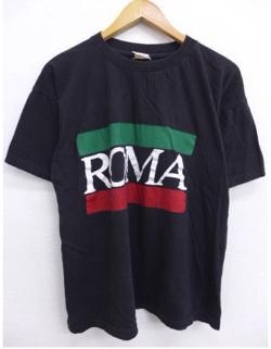 ノーブランド XL★古着 ビンテージ Tシャツ 90年代 ローマ 黒