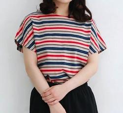 MERLOT IKYU マルチボーダーフレンチスリーブTシャツ