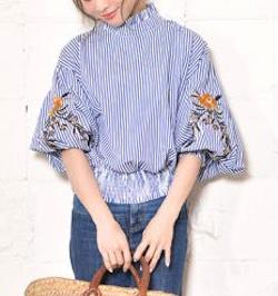 coca 花柄刺繍バルーンスリーブブラウス