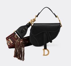 """Christian Dior ブラック カーフスキン """"SADDLE"""" ミニバッグ"""