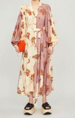LOEWE (ロエベ) Paula's Ibiza two-tone crepe midi dress