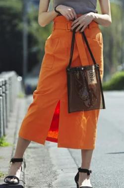 UNRELISH ベルト付リネンタイトスカート
