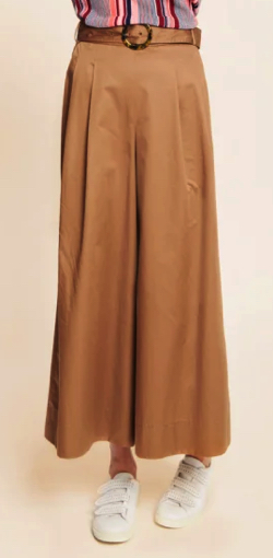 TARA JARMON(タラジャーモン)CAMEL COTTON SATIN WIDE PANTS