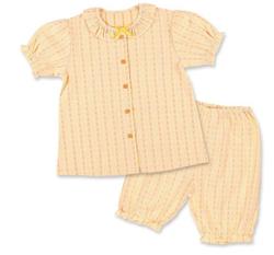 西松屋 前開き半袖パジャマ(チェック.ハート)