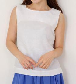 MEW'S REFINED CLOTHES 洗えるフレンチリネンノースリブラウス