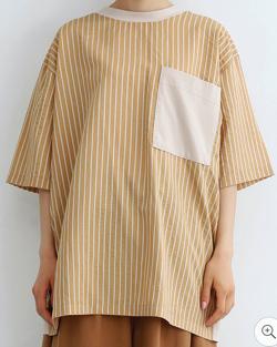 merlot ストライプドッキングBIGポケットTシャツ