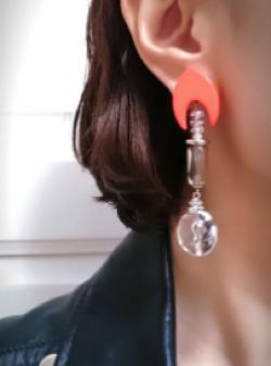 Presence orange × aurora × silver × clear beads