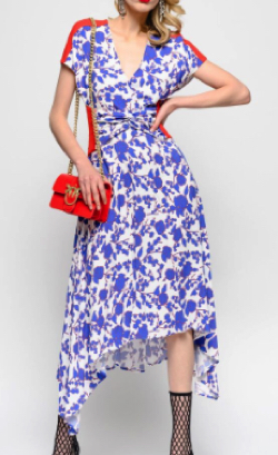 PINKO ラズベリー プリントの入ったロング ドレス