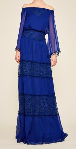 TADASHI SHOJI ブルー オフショルダー シフォンロングドレス