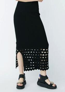 UN3D.(アンスリード)カットワークタイトスカート