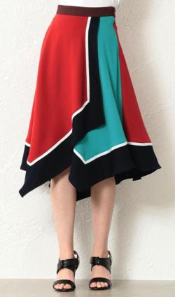 LOVELESS カラーブロックアシンメトリースカート