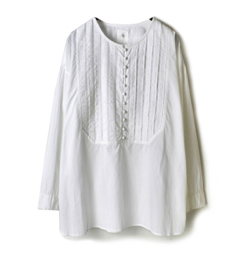 maison de soil RANDOM PLEATS CREW-NECK BOSOM SHIRT