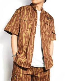 LEFLAH(レフラー)TIGER PATTERN DENIM NO COLLAR S/S SHIRT