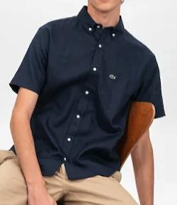 LACOSTE(ラコステ)リネン半袖ボタンダウンシャツ