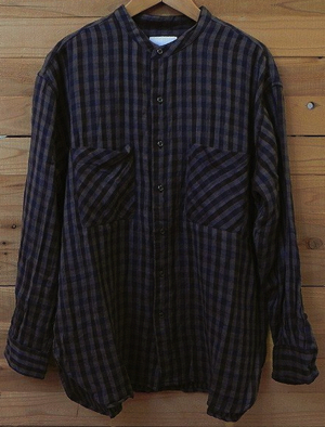 ARMEN(アーメン)CHECK UTILITY BANDED COLLAR SHIRT