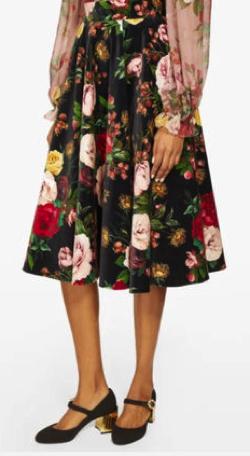 Dolce & Gabbana ローズプリント ベルベット スカート