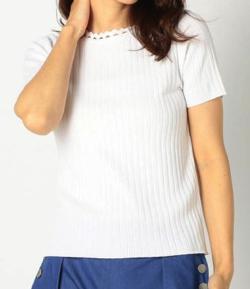 MEW'S REFINED CLOTHES 洗える変形スカラップリブニット