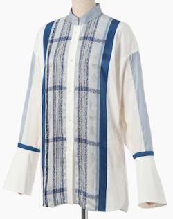 mame kurogouchi Floral Stripe Jacquard Shirt