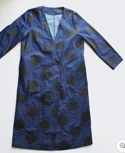 antiqua ドットデニムロングジャケット