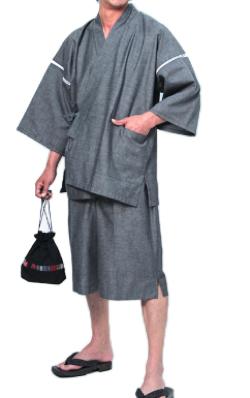 宮田織物 甚平 [ちぢみ織り] グレー 夏用 綿100% 無地