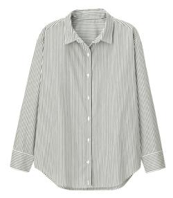 GU 2WAYストライプオーバーサイズシャツ(長袖)