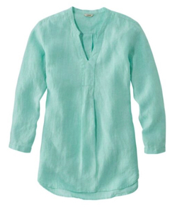 L.L.Bean(エル・エル・ビーン) Premium Washable Linen Shirt, Splitneck Tunic Long-Sleeve